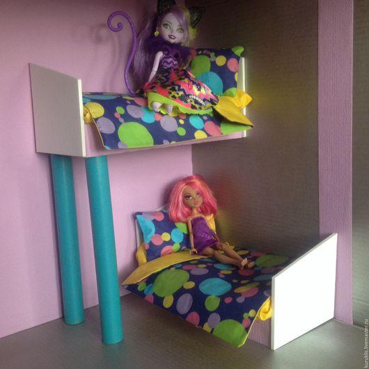 Кукольный дом ручной работы. Ярмарка Мастеров - ручная работа. Купить Двухъярусная кровать для куколок высотой до 30 с двумя комплектами. Handmade.