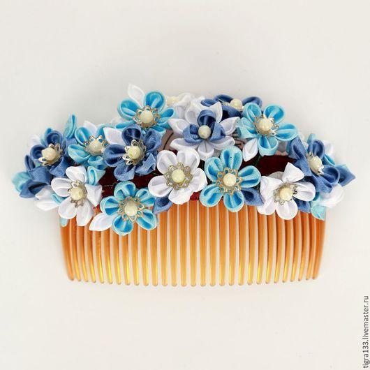 Заколки ручной работы. Ярмарка Мастеров - ручная работа. Купить Гребень для волос Голубая сакура. Handmade. Голубой, гребень с цветами