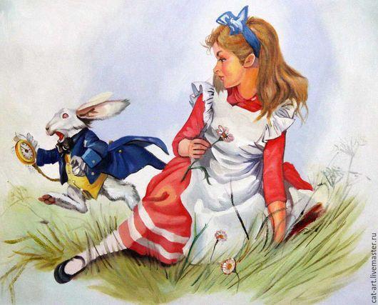 Фэнтези ручной работы. Ярмарка Мастеров - ручная работа. Купить Алиса в стране чудес_Картина маслом на холсте ручная работа. Handmade.