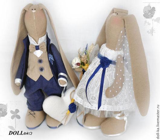 """Игрушки животные, ручной работы. Ярмарка Мастеров - ручная работа. Купить Свадебные зайцы """" Eco-Style""""  (текстильные игрушки ручной работы). Handmade."""