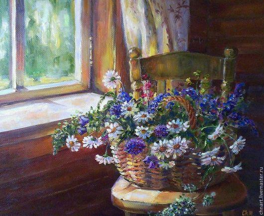 """Картины цветов ручной работы. Ярмарка Мастеров - ручная работа. Купить картина """"Летняя корзиночка"""". Handmade. Разноцветный, колокольчики, корзинка"""