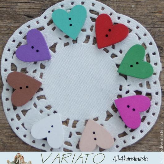 Шитье ручной работы. Ярмарка Мастеров - ручная работа. Купить Пуговицы Сердце цветное 24 мм. Handmade.