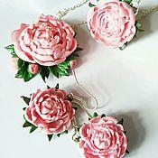 Украшения ручной работы. Ярмарка Мастеров - ручная работа Розовый пион набор украшений. Handmade.