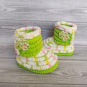 Одежда детская handmade. Livemaster - original item Booties boots knitted plush for kids, children`s shoes, 11.5 cm. Handmade.