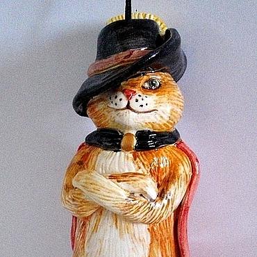 """Сувениры и подарки ручной работы. Ярмарка Мастеров - ручная работа Колокольчик  """"Кот в сапогах"""". Handmade."""