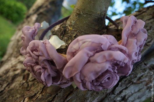 Диадемы, обручи ручной работы. Ярмарка Мастеров - ручная работа. Купить Венок из роз. Handmade. Цветы из ткани, цветок