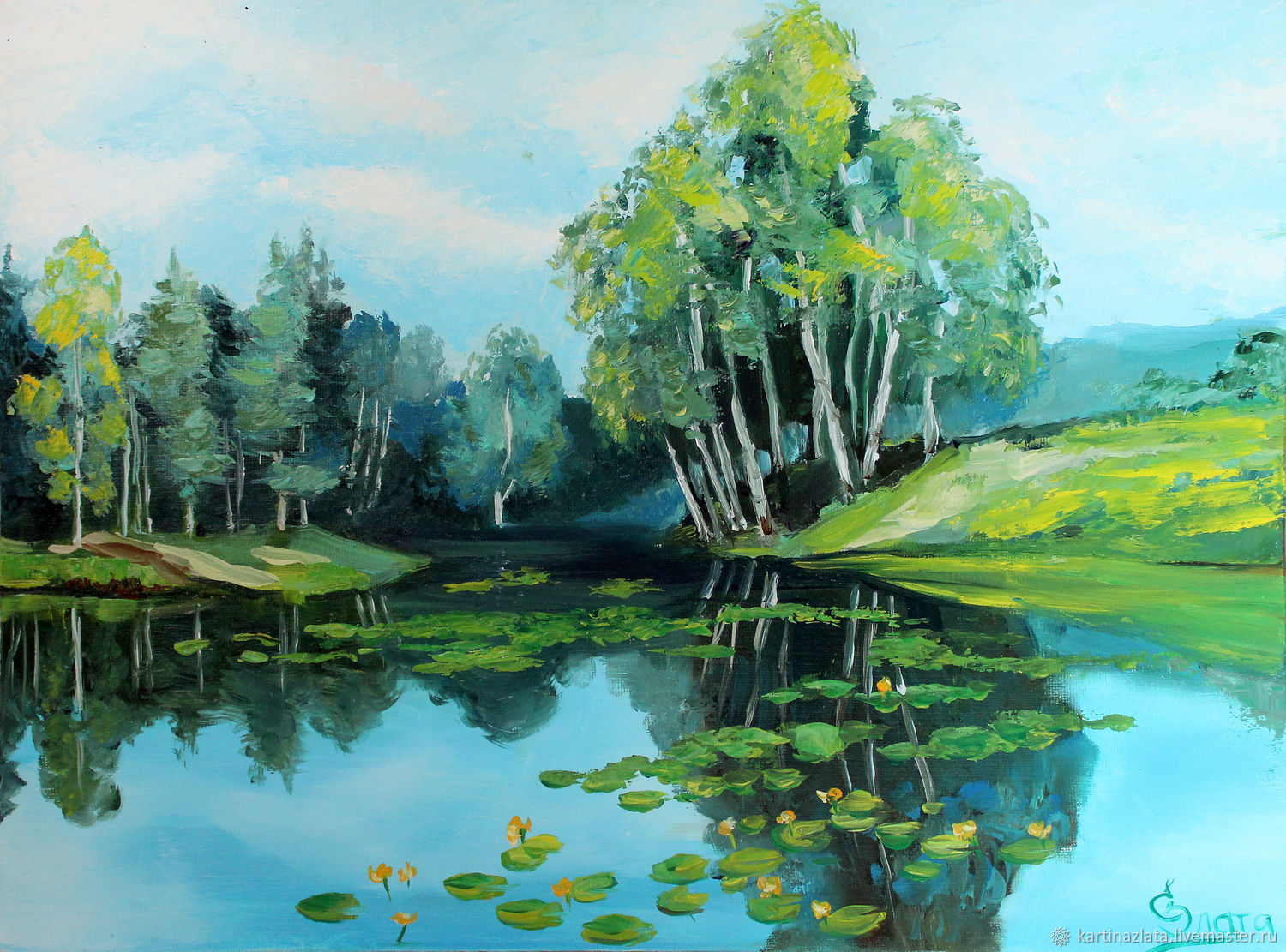 Oil painting on canvas, summer landscape, Paradise, Pictures, Azov,  Фото №1