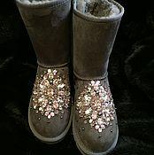 """Обувь ручной работы. Ярмарка Мастеров - ручная работа Угги со стразами """"Alla"""" натуральные. Handmade."""