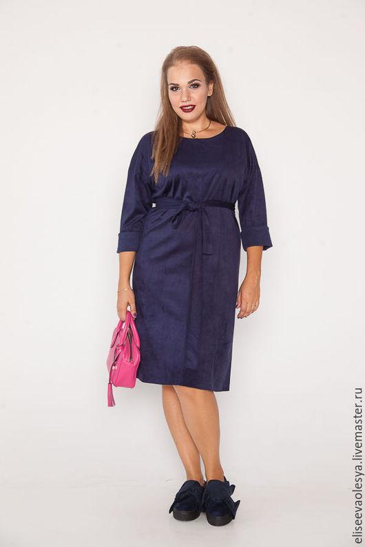 Платья ручной работы. Ярмарка Мастеров - ручная работа. Купить Платье из эко-замши 28013-1. Handmade. Тёмно-синий