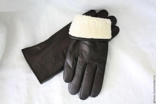 Варежки, митенки, перчатки ручной работы. Ярмарка Мастеров - ручная работа. Купить Перчатки мужские кожаные зимние на натуральном меху овчина. Handmade.