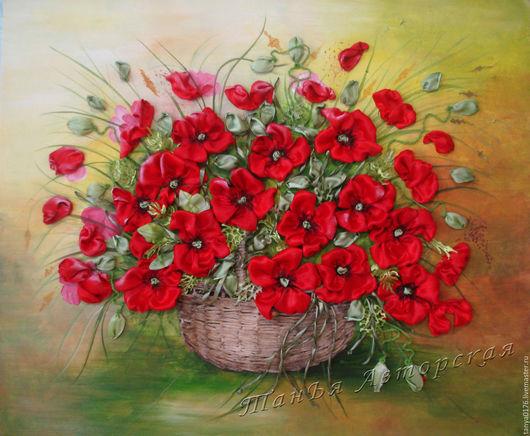 """Картины цветов ручной работы. Ярмарка Мастеров - ручная работа. Купить Вышитая картина """"МАКИ"""". Handmade. Ярко-красный"""