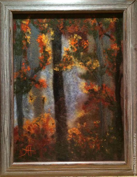 Пейзаж ручной работы. Ярмарка Мастеров - ручная работа. Купить Картина из шерсти Сказочный лес. Handmade. Шерстяная акварель