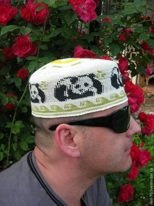 """Для мужчин, ручной работы. Ярмарка Мастеров - ручная работа. Купить Летняя шапка  """"Панда 2"""". Handmade. Разноцветный, на отдых"""