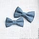 Галстуки, бабочки ручной работы. Ярмарка Мастеров - ручная работа. Купить Комплект галстуков-бабочек Папа-сын из хлопка. Handmade.