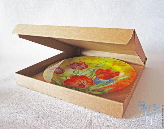 Упаковка ручной работы. Ярмарка Мастеров - ручная работа. Купить Коробка плоская 32х32х3,5, мгк, пицца, крафт коробки, крафт упаковка. Handmade.