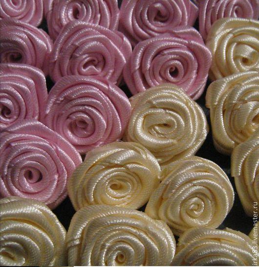 Другие виды рукоделия ручной работы. Ярмарка Мастеров - ручная работа. Купить Цветы из ленты 3см. Айвори, розовый. Handmade.