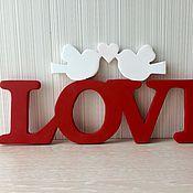 Для дома и интерьера ручной работы. Ярмарка Мастеров - ручная работа Интерьерное слово Love с птичками. Handmade.