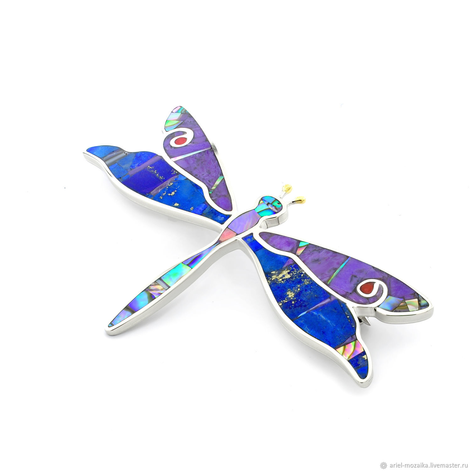 brooch Dragonfly. Brooch with lapis lazuli, charoite, mother of pearl, coral, Brooches, Moscow,  Фото №1