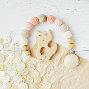 Одежда handmade. Livemaster - original item Teether-teething toy with a Fox on peach holder. Handmade.