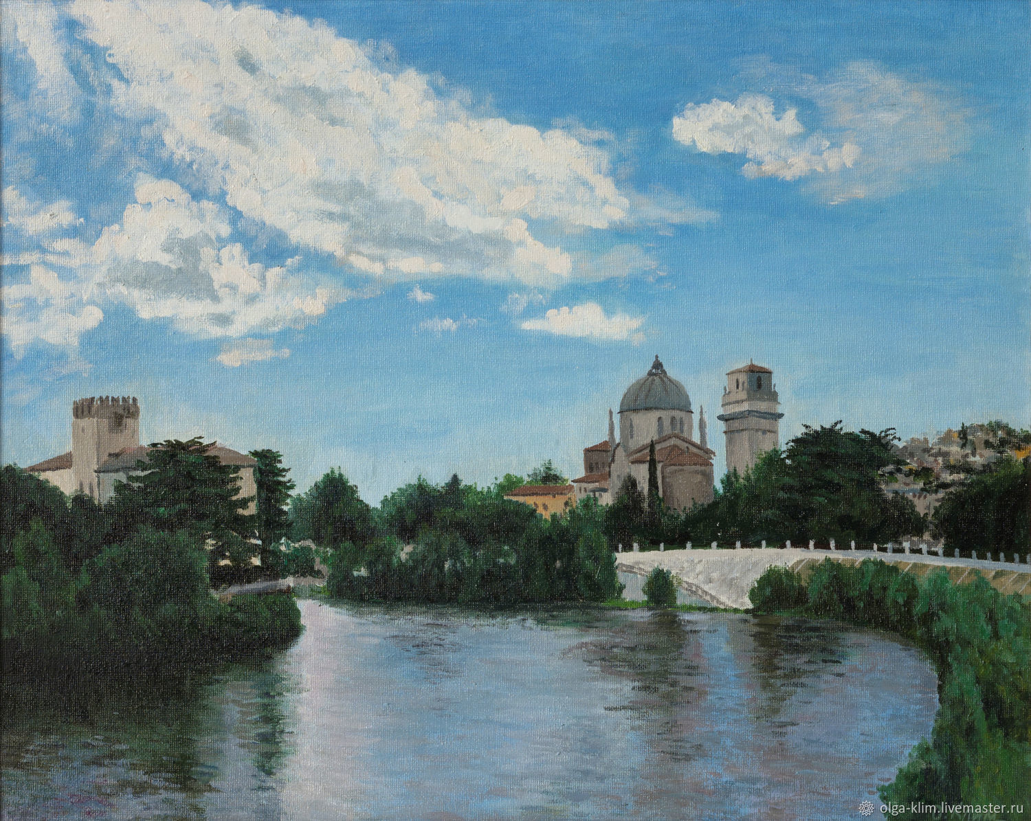 Painting City on the river in blue tones Urban landscape Verona, Pictures, Ekaterinburg,  Фото №1