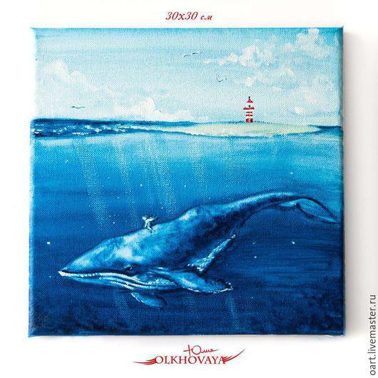 Ангел отправляется в морское путешествие верхом на ките. Картина маслом.  Художник Ольховая Юлия.  На заказ можно исполнить этот сюжет в других размерах, но точное повторение не возможно.