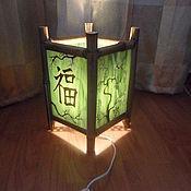 Для дома и интерьера ручной работы. Ярмарка Мастеров - ручная работа Светильник в китайском стиле из стекла и бамбука. Handmade.