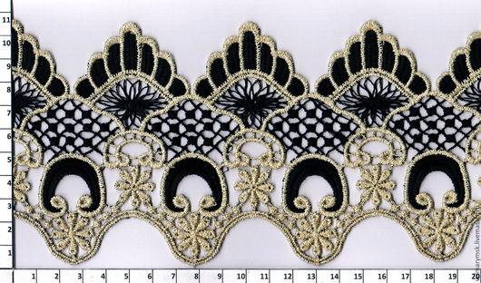 Аппликации, вставки, отделка ручной работы. Ярмарка Мастеров - ручная работа. Купить Кружево макраме  TL-SR5 чёрный-золото. Handmade.