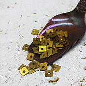 Материалы для творчества handmade. Livemaster - original item Sequins: curly 4 mm Bronze metal square 2 gr.. Handmade.