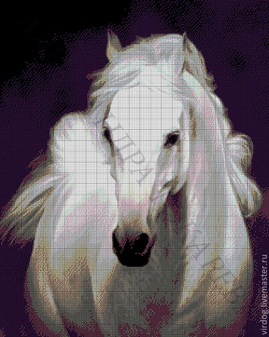 """Вышивка ручной работы. Ярмарка Мастеров - ручная работа. Купить Набор для вышивания бисером """"БЕЛОГРИВЫЙ"""". Handmade. Тёмно-синий, лошадь"""