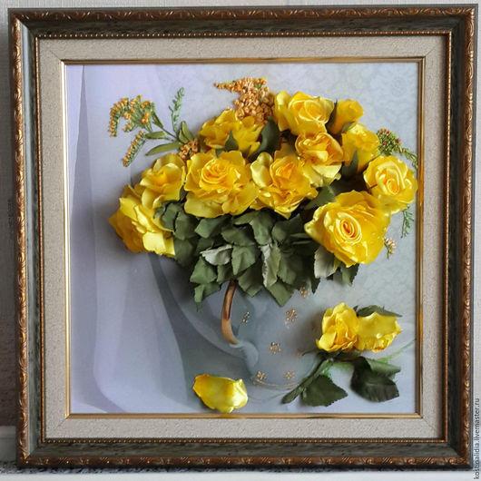 Картины цветов ручной работы. Ярмарка Мастеров - ручная работа. Купить Жёлтые розы. Handmade. Вышивка, подарок на день рождения