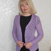 Одежда ручной работы. Ярмарка Мастеров - ручная работа Кофта вязаная Сиреневый ажур. Handmade.