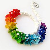 """Украшения ручной работы. Ярмарка Мастеров - ручная работа """"Rainbow"""" колье с цветами из полимерной глины радуга. Handmade."""