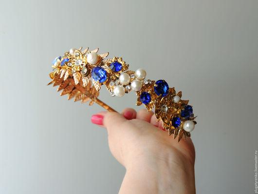 Диадемы, обручи ручной работы. Ярмарка Мастеров - ручная работа. Купить Тиара для волос Sapphire flower. Handmade. Синий