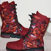 Обувь ручной работы handmade. Livemaster - original item Women`s felt boots Gems-Bordeaux. Handmade.