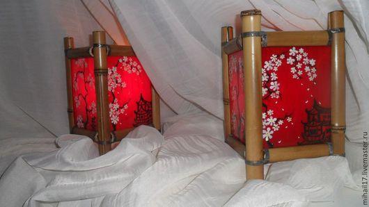 Освещение ручной работы. Ярмарка Мастеров - ручная работа. Купить Подсвечник витражный в китайском стиле Красный. Handmade. Ярко-красный