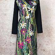 Одежда ручной работы. Ярмарка Мастеров - ручная работа Цветы Блюз платье валяное, трикотажное. Handmade.