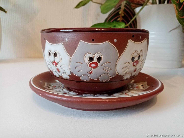 Ceramic bowl with saucer: Curious cats, Bowls, Krasnodar,  Фото №1
