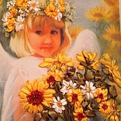 Картины и панно ручной работы. Ярмарка Мастеров - ручная работа Девочка с подсолнухами. Handmade.