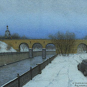 Картины и панно handmade. Livemaster - original item Buy posters on the wall in Moscow Andronikov viaduct. Landscape watercolor. Handmade.