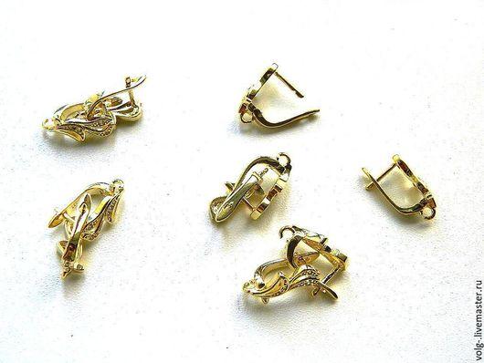 Для украшений ручной работы. Ярмарка Мастеров - ручная работа. Купить Швензы серебро английский замок позолоченные, с цирконамижелтое золото. Handmade.