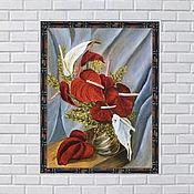 Элементы интерьера ручной работы. Ярмарка Мастеров - ручная работа Картина  маслом Красные и белые калы на сером фоне. Handmade.