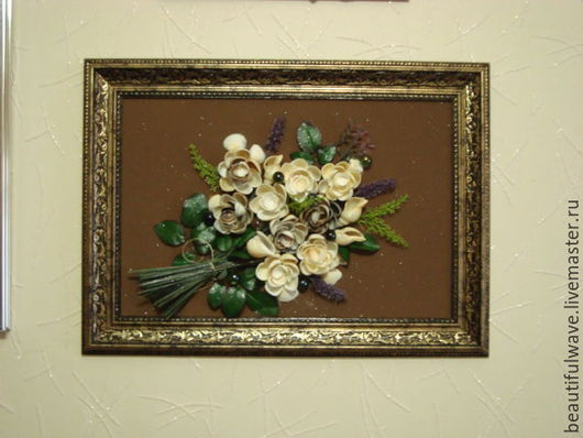 Картины цветов ручной работы. Ярмарка Мастеров - ручная работа. Купить Картина из ракушек Букет невесты. Handmade. Картина