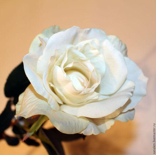 Цветы ручной работы. Ярмарка Мастеров - ручная работа. Купить Роза кремовая. Handmade. Белый, искусственные розы, букет из роз