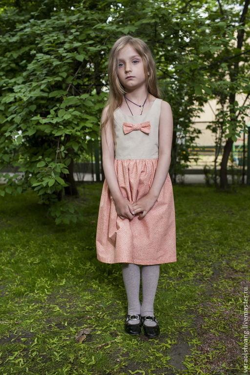 Одежда для девочек, ручной работы. Ярмарка Мастеров - ручная работа. Купить Платье-сарафан с бантиком - розовое. Handmade. Кремовый, бантик