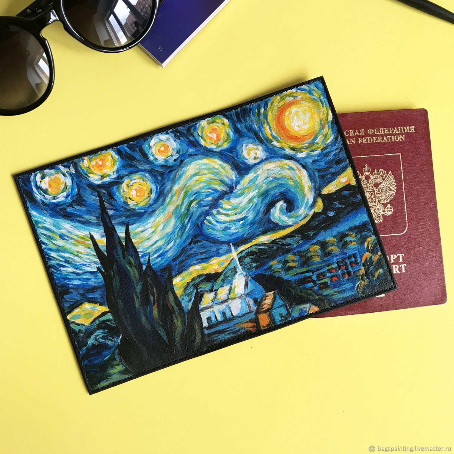 Leather passport cover with hand painted
