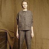 Одежда ручной работы. Ярмарка Мастеров - ручная работа Костюм летний коричневый деловой брючный женский льняной. Handmade.