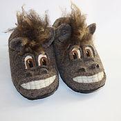 Обувь ручной работы. Ярмарка Мастеров - ручная работа Тапочки валяные - Кони. Handmade.
