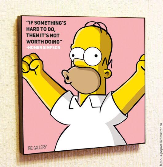 Дизайн интерьеров ручной работы. Ярмарка Мастеров - ручная работа. Купить Картина Поп Арт Гомер Симпсон. Handmade. Искусство