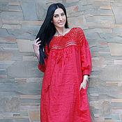 """Одежда handmade. Livemaster - original item Длинное льняное платье с вязаной кокеткой """"Алый восход"""" вышитое платье. Handmade."""