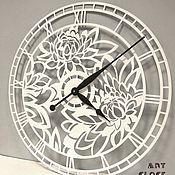 """Для дома и интерьера handmade. Livemaster - original item Настенные часы """"Пионы"""" из металла 60 см. Handmade."""